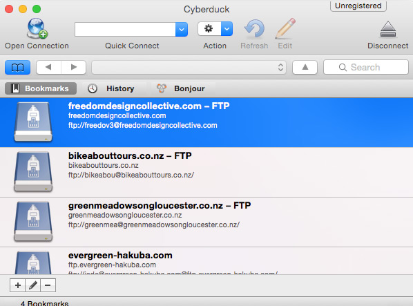 cyberduck bookmarks make ftp easy